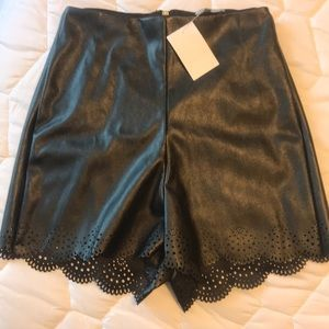 NWT faux leather shorts